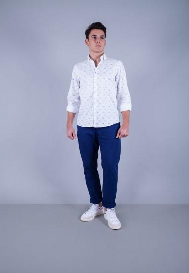 Camisa de hombre Lennon Patadegayo de calidad sostenible fabricada en España - plano completo