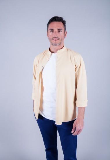 Camisa de hombre Mao puffy Patadegayo de calidad sostenible fabricada en España - plano delantero abierto