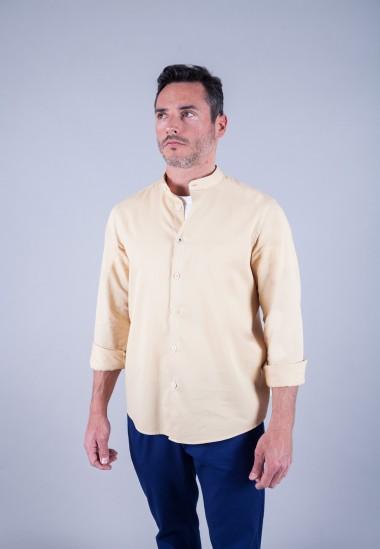 Camisa de hombre Mao puffy Patadegayo de calidad sostenible fabricada en España - plano delantero