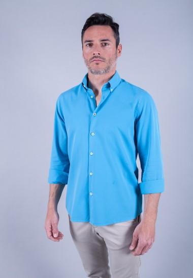 Camisa de hombre Puffy turquesa Patadegayo de calidad sostenible fabricada en España - plano delantero