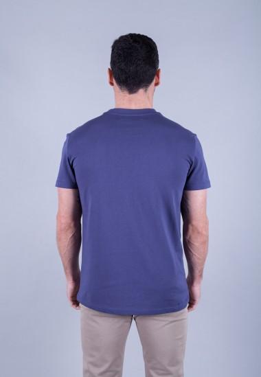 Camiseta de hombre Isa azul Patadegayo de calidad sostenible fabricado en España - plano trasero