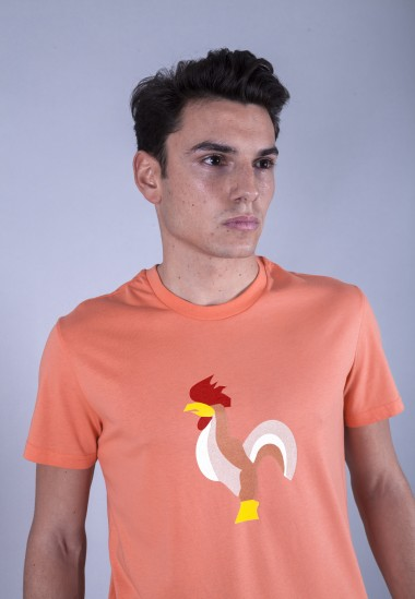 Camiseta de hombre Isa narnaja Patadegayo de calidad sostenible fabricado en España - plano detalle