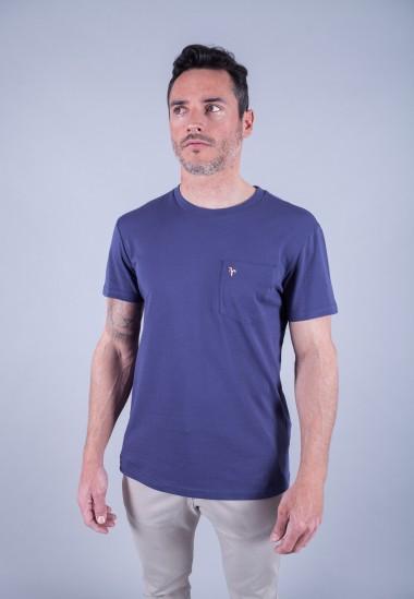 Camiseta de hombre Carmen azul Patadegayo de calidad sostenible fabricado en España - plano delantero