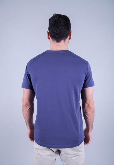 Camiseta de hombre Carmen azul Patadegayo de calidad sostenible fabricado en España - plano trasero