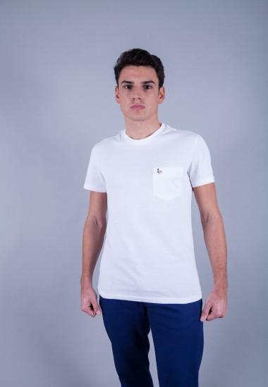 Camiseta de hombre Carmen blanca Patadegayo de calidad sostenible fabricado en España - plano delantero