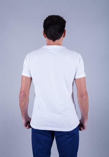 Camiseta de hombre Carmen blanca Patadegayo de calidad sostenible fabricado en España - plano trasero