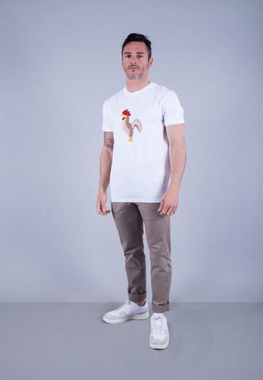 Camiseta de hombre Isa blanca Patadegayo de calidad sostenible fabricado en España - plano fantasma