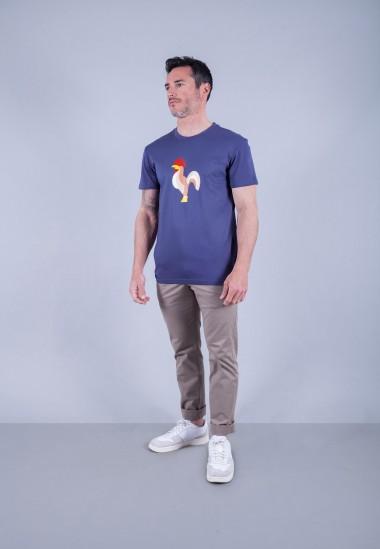 Camiseta de hombre Isa azul Patadegayo de calidad sostenible fabricado en España - plano fantasma