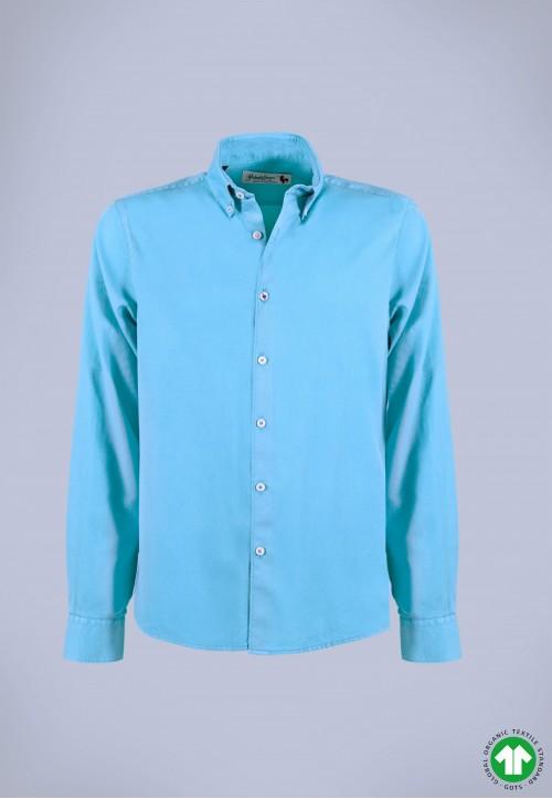 Camisa de hombre Puffy turquesa Patadegayo de calidad sostenible fabricada en España - plano fantasma