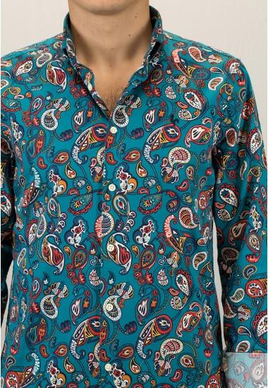 Camisa de hombre Larusso Patadegayo de calidad sostenible fabricada en España - plano detalle