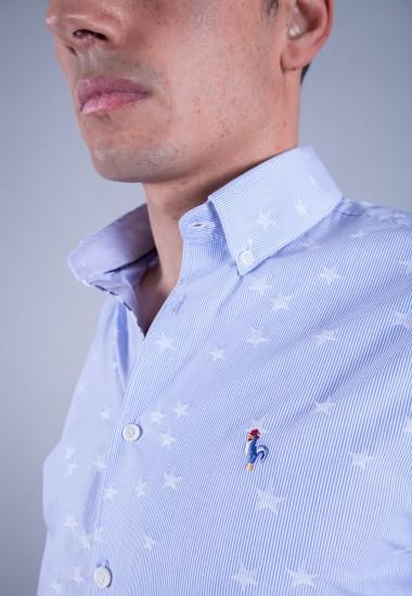Camisa de hombre Bolt Patadegayo de calidad sostenible fabricada en España - plano detalle logo