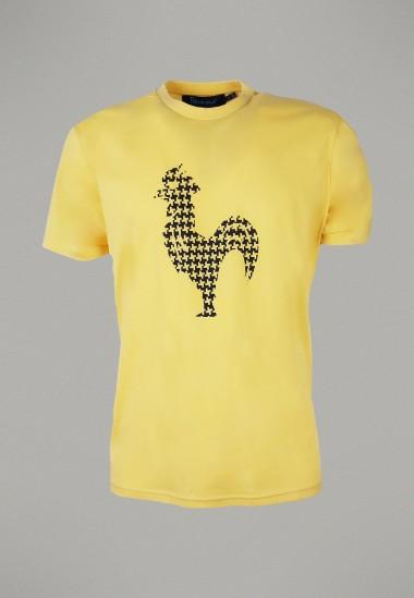 Camiseta de hombre Arcega amarilla Patadegayo de calidad sostenible fabricado en España - plano fantasma