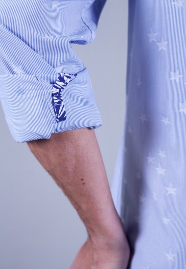 Camisa de hombre Bolt Patadegayo de calidad sostenible fabricada en España - plano detalle manga