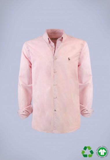 Camisa de hombre Leonardo rosa Patadegayo de calidad sostenible fabricada en España - plano fantasma