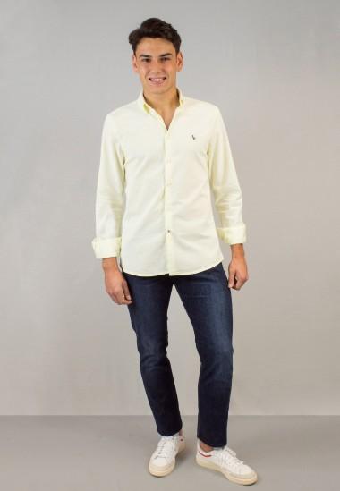 Camisa de hombre Leonardo amarillo Patadegayo de calidad sostenible fabricada en España - plano fantasma
