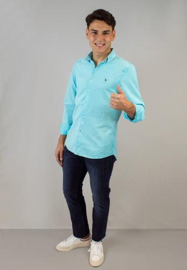Camisa de hombre Leonardo turquesa Patadegayo de calidad sostenible fabricada en España - plano fantasma