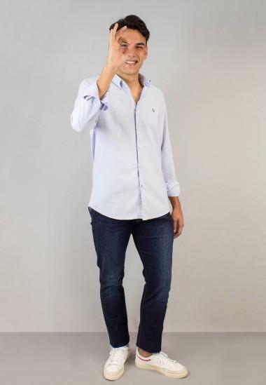 Camisa de hombre Leonardo malva Patadegayo de calidad sostenible fabricada en España - plano fantasma