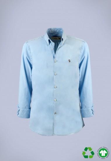 Camisa de hombre Leonardo celeste Patadegayo de calidad sostenible fabricada en España - plano fantasma
