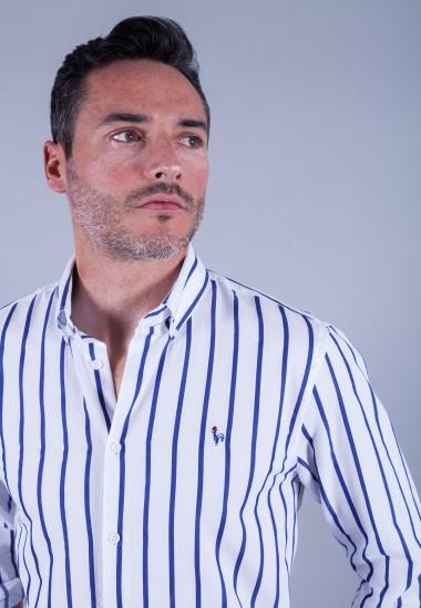 Camisa de hombre Calypso Patadegayo de calidad sostenible fabricada en España - plano detalle delantro