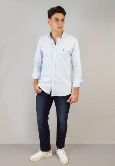 Camisa de hombre Oxford celeste Patadegayo de calidad sostenible fabricada en España - detalle