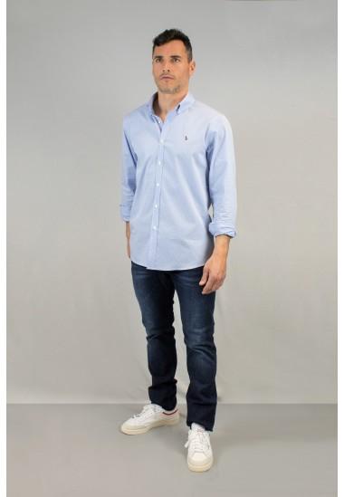 Camisa de hombre mini vichy celeste Patadegayo de calidad sostenible fabricada en España - detalle