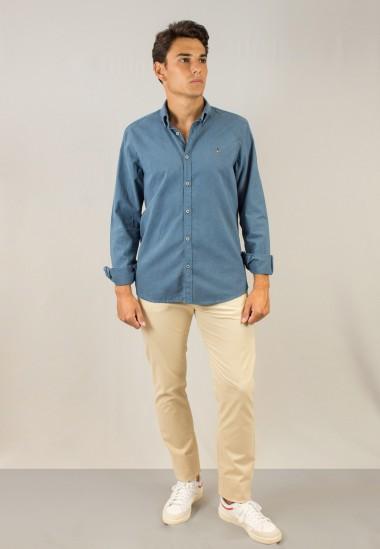 Camisa de hombre Leonardo azul Patadegayo de calidad sostenible fabricada en España - plano delantero