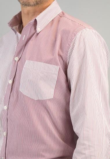 Camisa de hombre Sulivan rojo Patadegayo de calidad sostenible fabricada en España - plano detalle